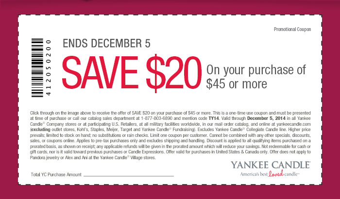 Yankee Candle Coupon October 2016 $20 off $45 at Yankee Candle, or online via promo code TY14