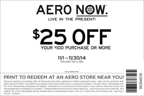 Aeropostale Coupon February 2017 $25 off $100 at Aeropostale, also 50% off throughout store online
