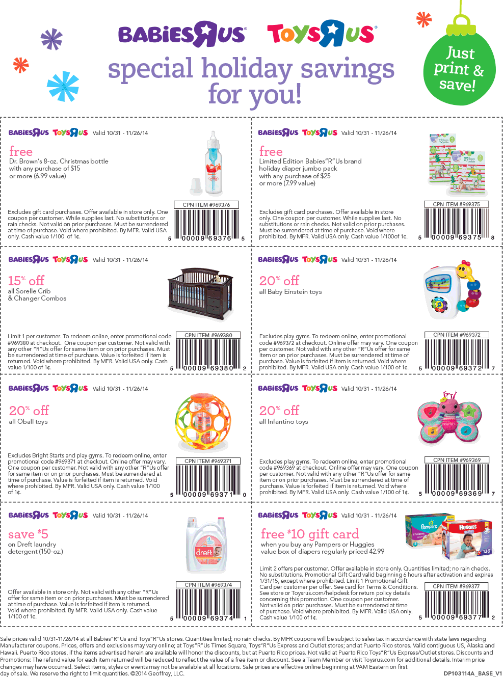 Toys R Us Coupon February 2019 $10 card back on large box diapers & various others at Babies R Us & Toys R Us