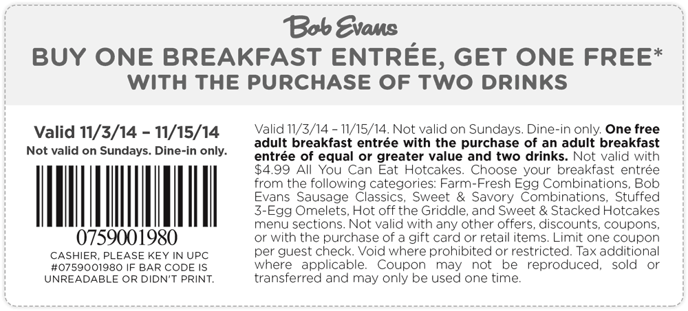 Bob Evans Coupon December 2016 Second breakfast free at Bob Evans