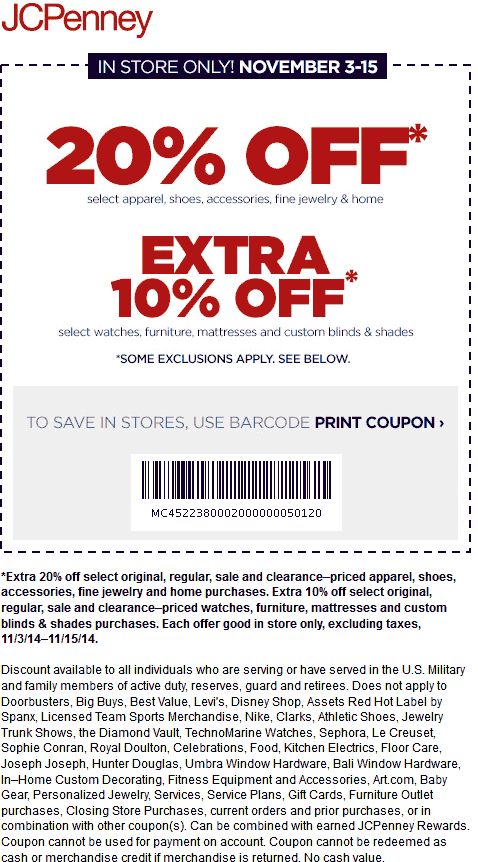 JCPenney Coupon April 2018 20% off apparel at JCPenney, or online via promo code GOLDEN