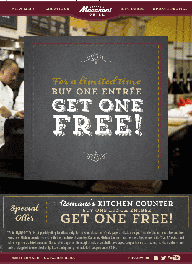 Macaroni Grill Coupon October 2016 Second lunch free at Romanos Macaroni Grill