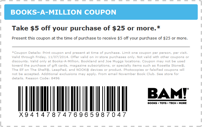 Books-A-Million Coupon September 2018 $5 off $25 at Books-A-Million