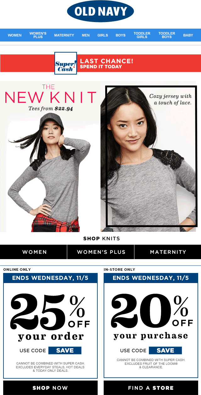 Old Navy Coupon January 2018 20% off today at Old Navy, or 25% online via promo code SAVE
