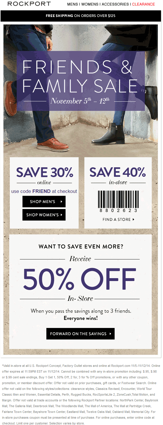 Rockport Coupon December 2016 40% off at Rockport, or 30% online via promo code FRIEND