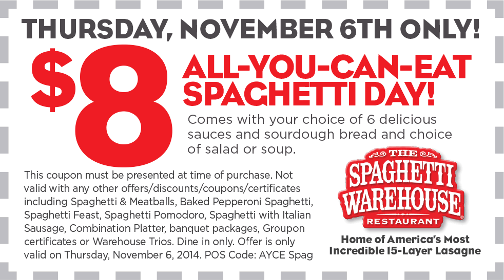 Spaghetti Warehouse Coupon July 2017 $8 bottomless spaghetti, salad & bread Thursday at Spaghetti Warehouse restaurants