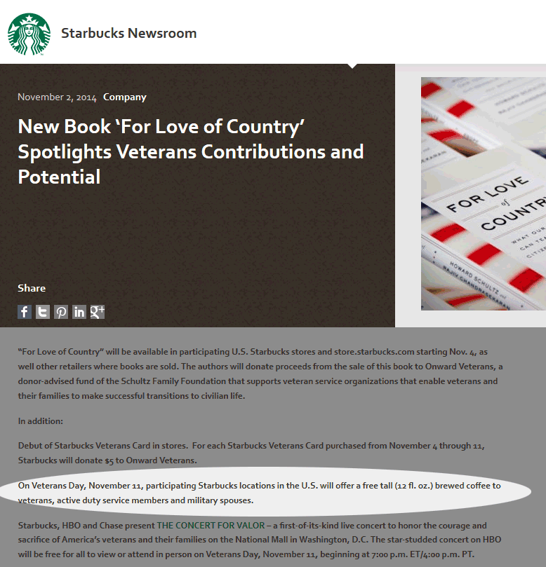 Starbucks Coupon September 2018 Free coffee for Veterans, active & spouses Tuesday at Starbucks
