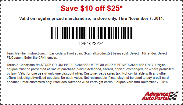 Advance Auto Parts Coupon October 2016 $10 off $25 at Advance Auto Parts, or 20% online via promo code LYON20