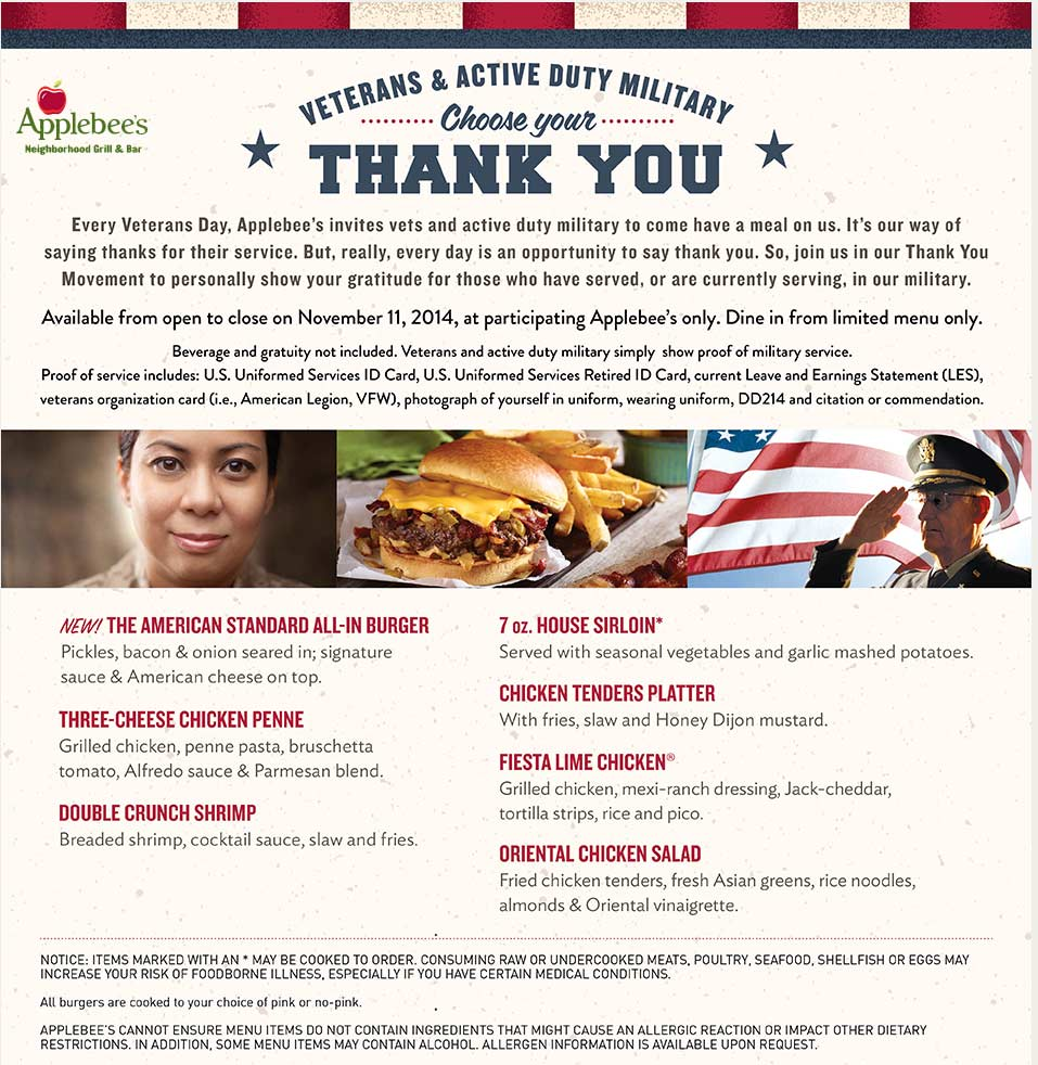 Applebees Coupon February 2019 Veterans & active enjoy a free meal Tuesday at Applebees
