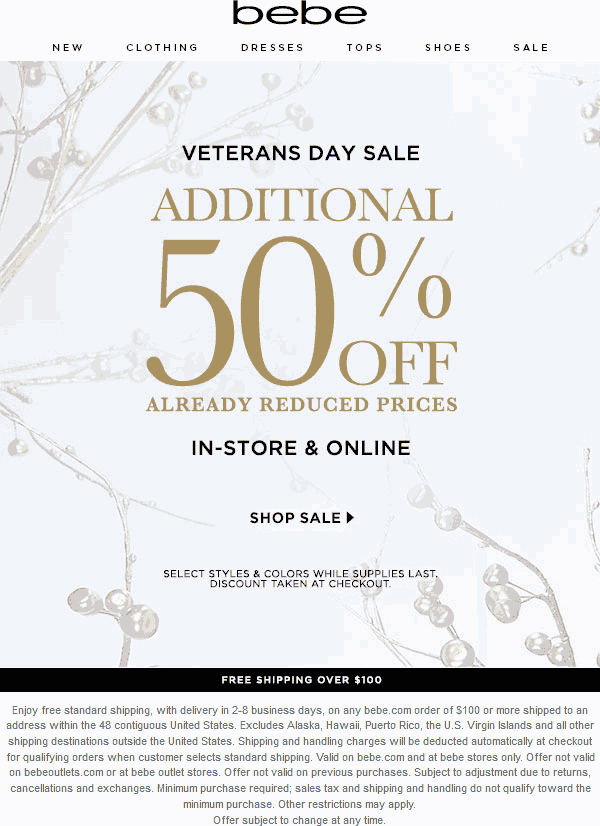 Bebe Coupon September 2018 Extra 50% off clearance at bebe, ditto online