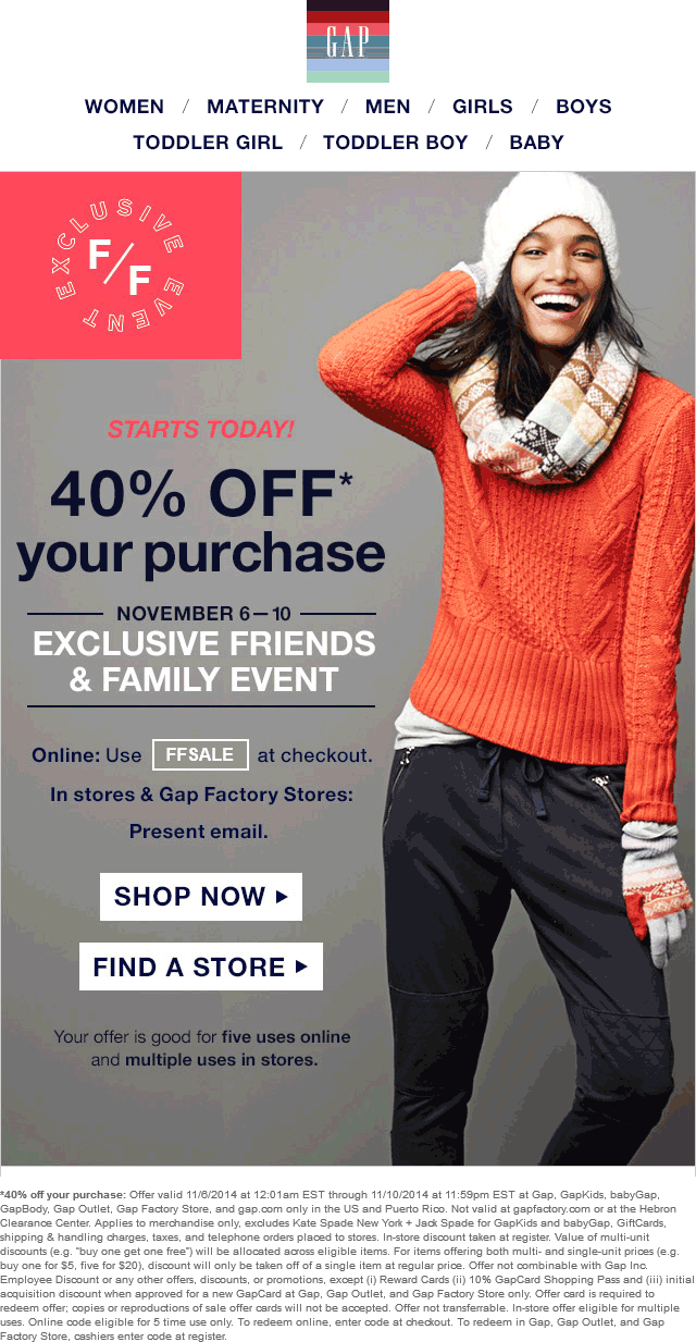 Gap Coupon October 2016 40% off at Gap, GapKids, babyGap, GapBody, Gap Outlet, Gap Factory Store, or online via promo code FFSALE