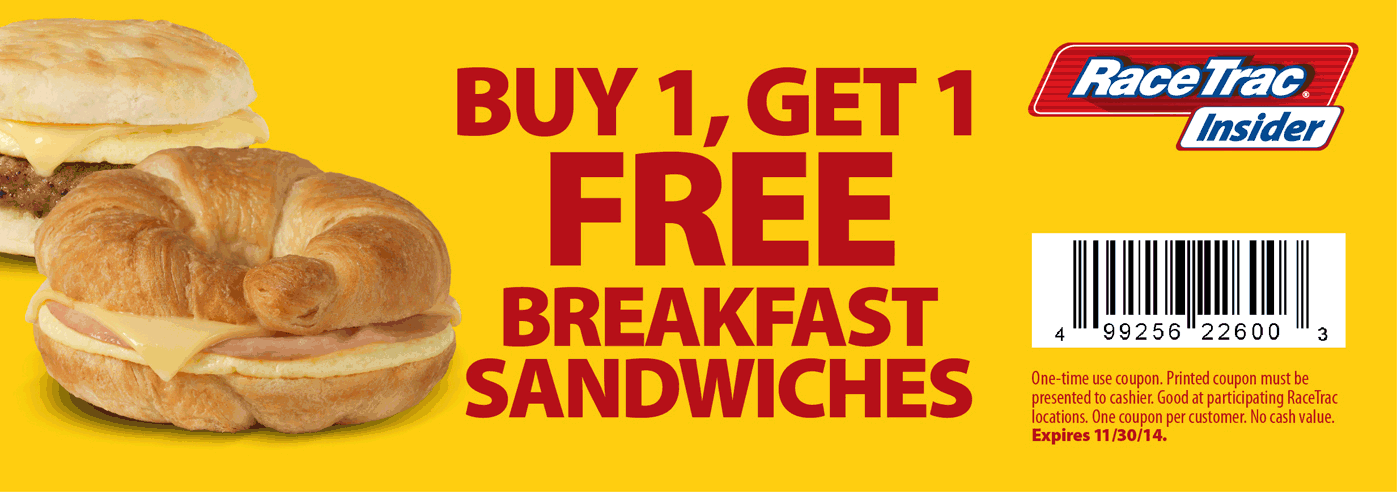 RaceTrac Coupon November 2018 Second breakfast sandwich free at RaceTrac gas stations