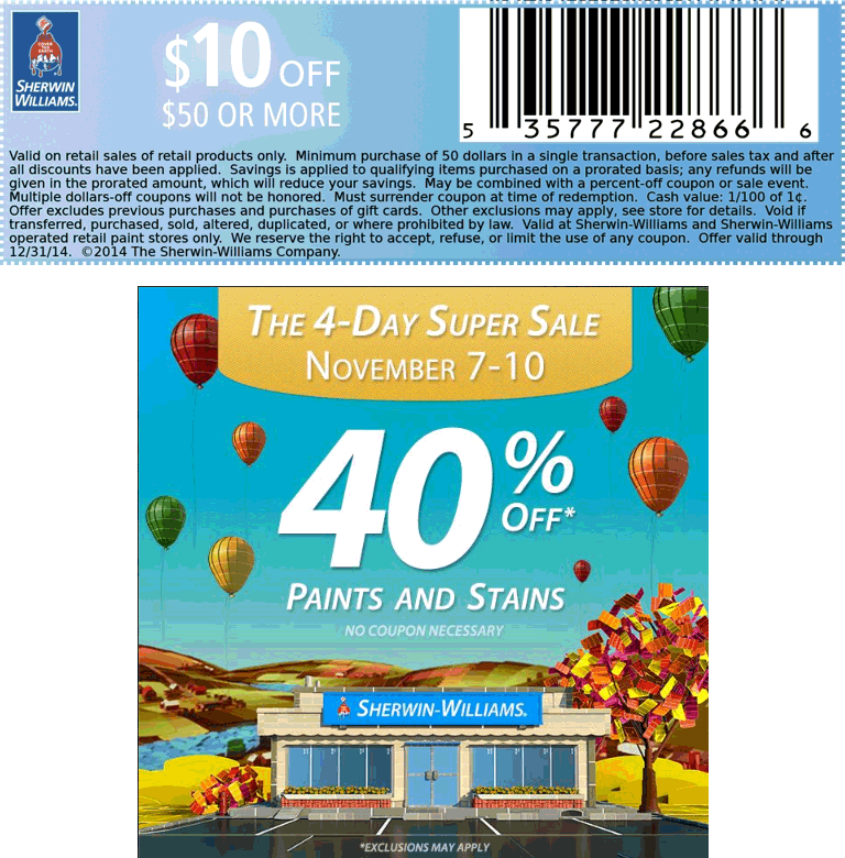 Sherwin Williams Coupon June 2017 40% off paint & stain + $10 off $50 at Sherwin Williams