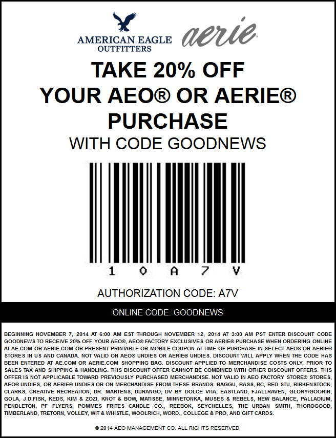 American Eagle Outfitters Coupon October 2016 20% off at American Eagle Outfitters & Aerie, or online via promo code GOODNEWS