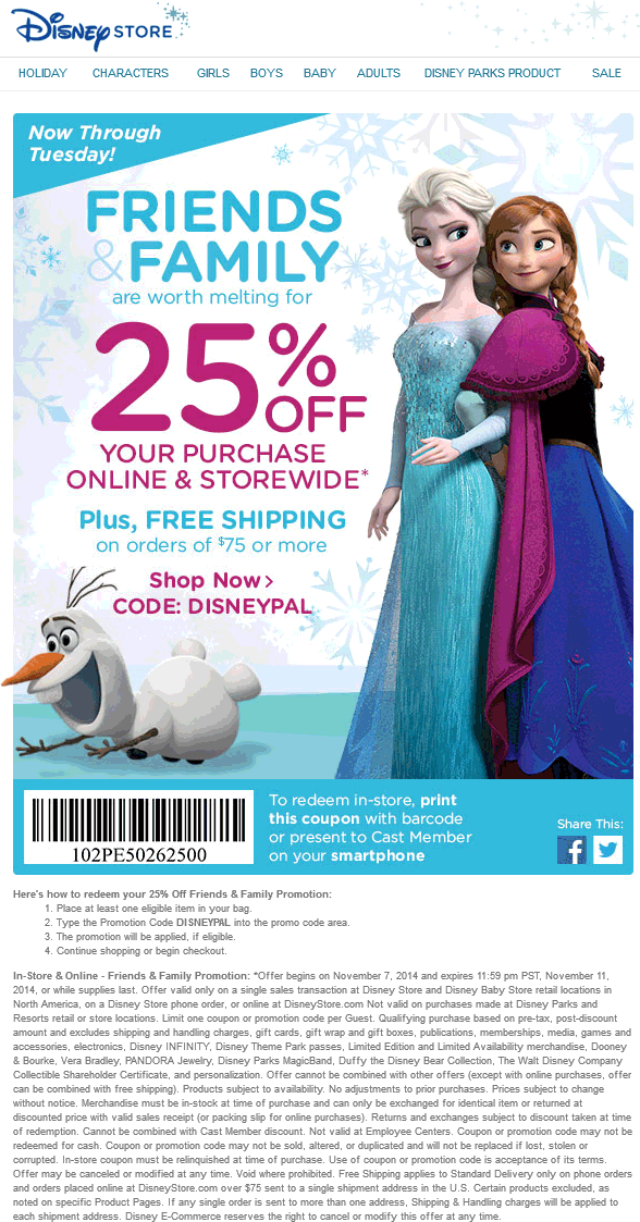 Disney Store Coupon October 2016 25% off at Disney Store, or online via promo code DISNEYPAL