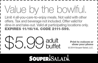 Souper Salad Coupon November 2017 $6 buffet at Souper Salad restaurants