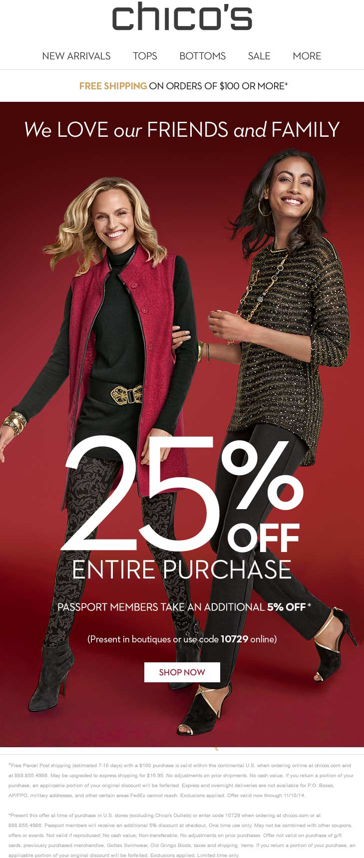 Chicos Coupon January 2017 25% off at Chicos, or online via promo code 10729