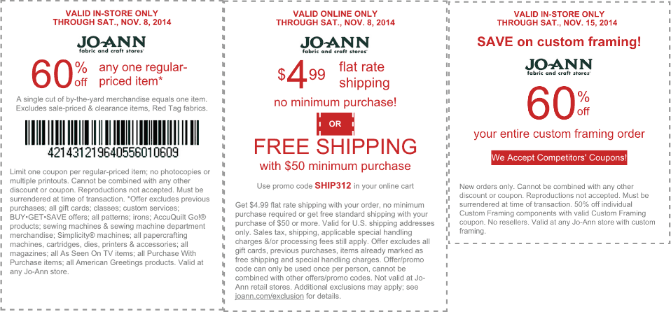 Jo-Ann Fabric Coupon October 2017 60% off a single item today at Jo-Ann Fabric