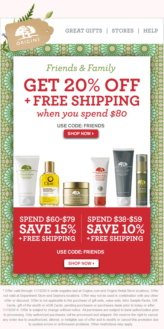 Origins Coupon March 2019 20% off $80 at Origins, or online via promo code FRIENDS