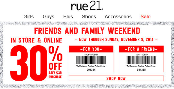Rue21 Coupon June 2017 30% off $30 at rue21, or online via promo code 01355