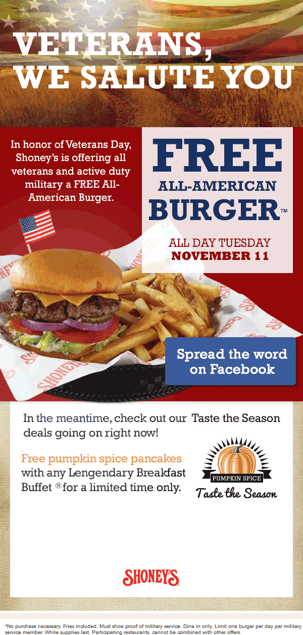 Shoneys Coupon March 2018 Free burger for military Tuesday at Shoneys restaurants