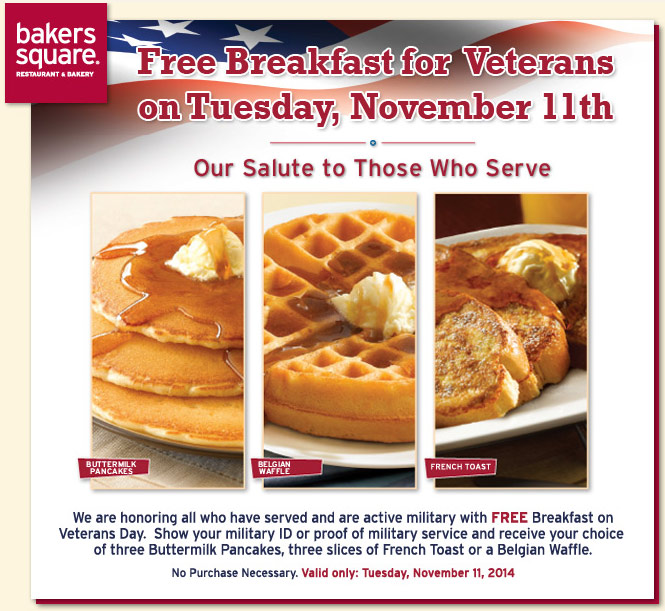 Bakers Square Coupon December 2016 Veterans enjoy a free breakfast Tuesday at Bakers Square