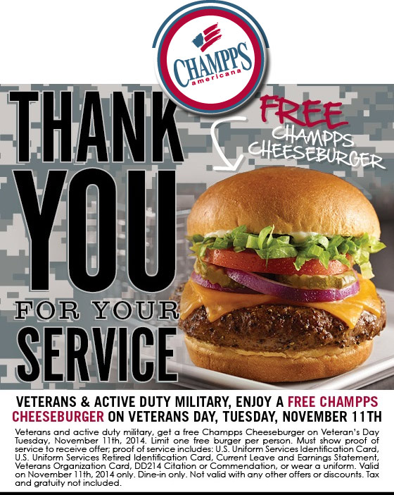 Champps Coupon October 2016 Military enjoy a free cheeseburger Tuesday at Champps Americana restaurants