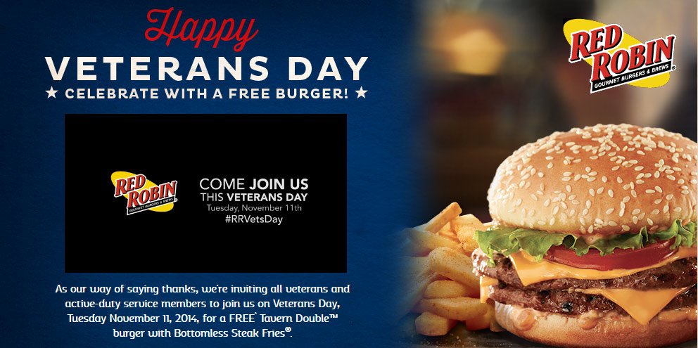 Red Robin Coupon December 2016 Free burger + bottomless fries for Military Tuesday at Red Robin restaurants