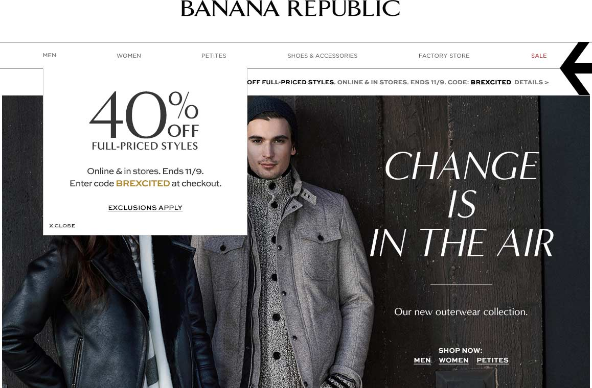 Banana Republic Coupon April 2017 40% off today at Banana Republic, or online via promo code BREXCITED