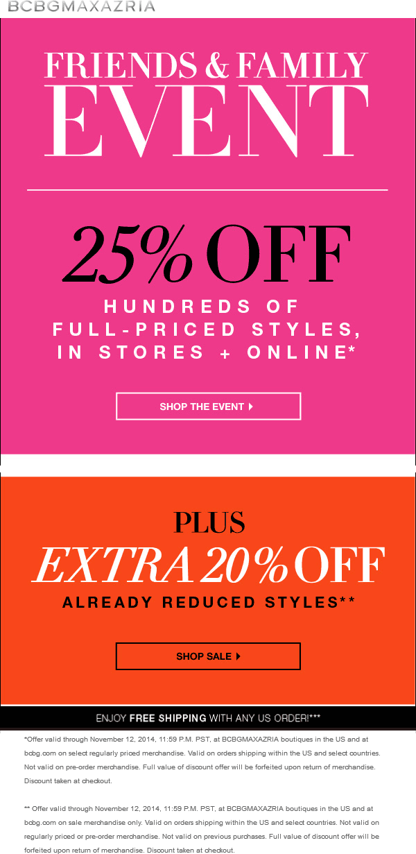 BCBG Coupon July 2017 25% off at BCBG, ditto online