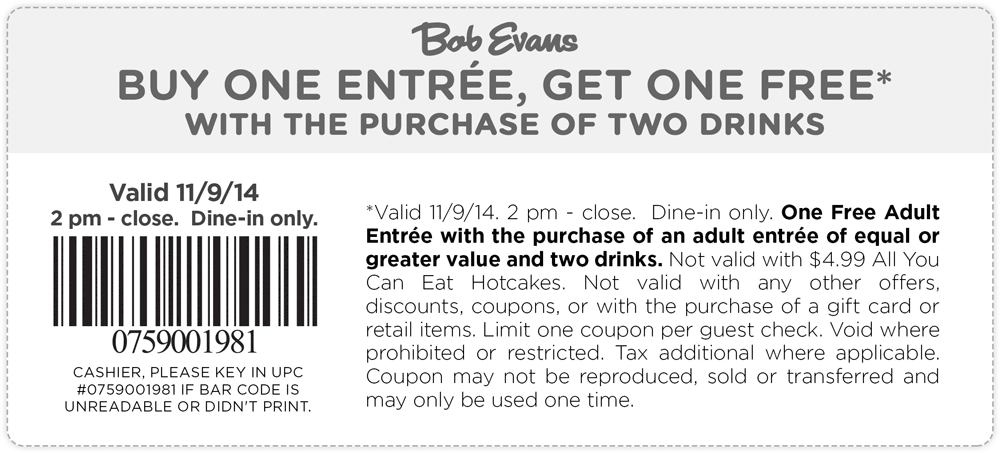 Bob Evans Coupon February 2019 Second entree free today at Bob Evans