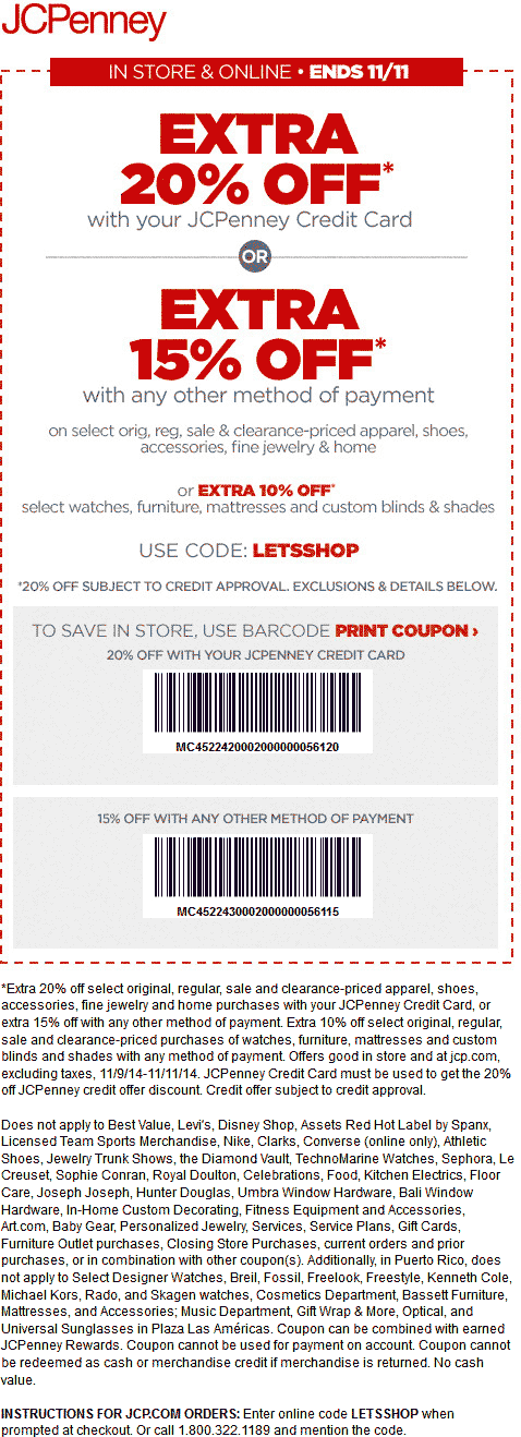 JCPenney Coupon March 2017 Extra 15% off at JCPenney, or online via promo code LETSSHOP