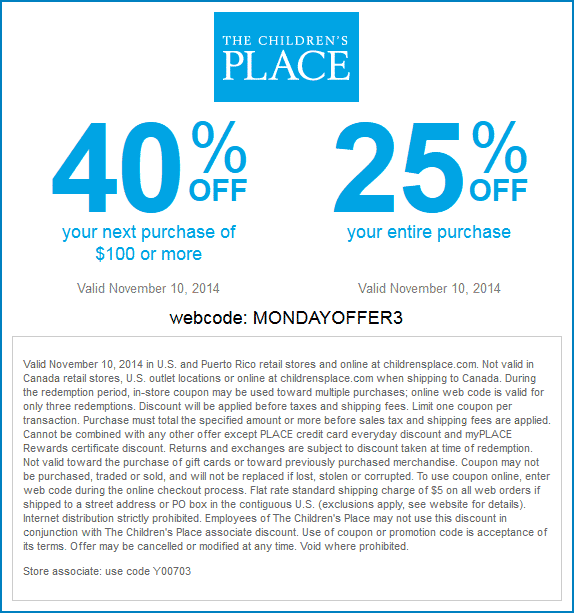 Childrens Place Coupon November 2018 25% off & more today at The Childrens Place, or online via promo code MONDAYOFFER3