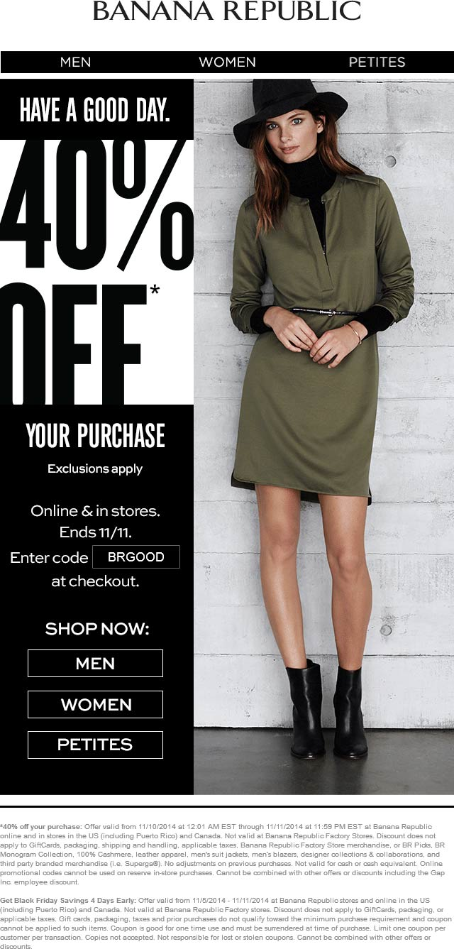 Banana Republic Coupon January 2018 40% off at Banana Republic, or online via promo code BRGOOD