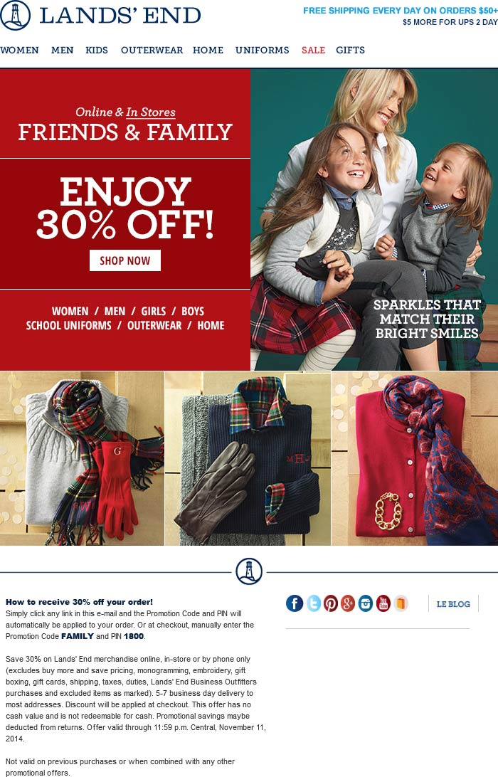 Lands End Coupon January 2018 30% off at Lands End, or online via promo code FAMILY and pin 1800