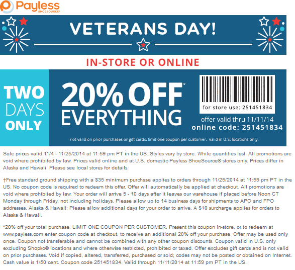 Payless Coupon May 2018 20% off at Payless Shoesource, or online via promo code 251451834