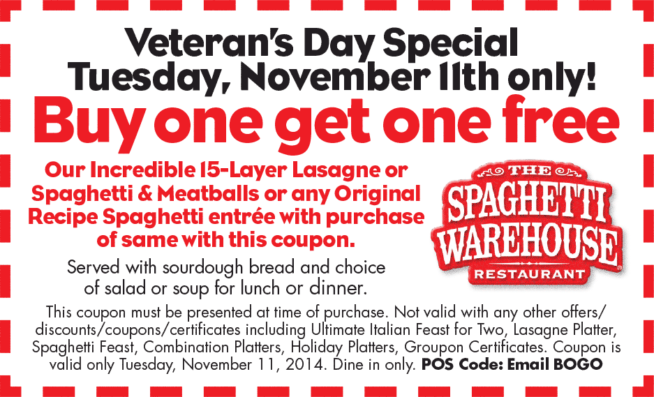 Spaghetti Warehouse Coupon January 2018 Second lasagna or spaghetti & meatballs free for everyone Tuesday at Spaghetti Warehouse restaurants