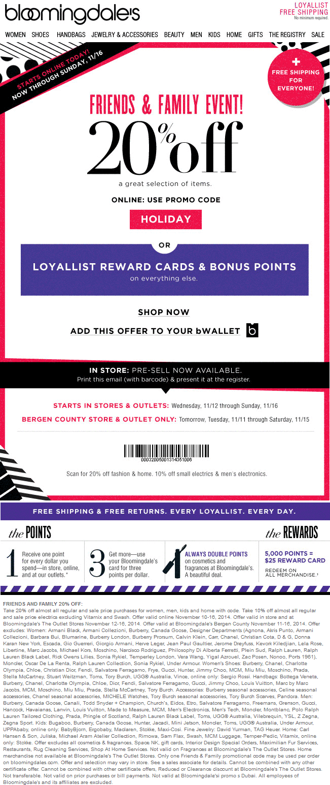 Bloomingdales Coupon October 2016 20% off at Bloomingdales, or online via promo code HOLIDAY