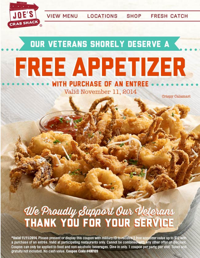 Joes Crab Shack Coupon February 2018 Veterans enjoy a free appetizer today at Joes Crab Shack