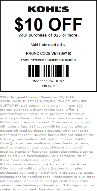 Kohls Coupon March 2017 $10 off $25 today at Kohls, or online via promo code VETSDAY10