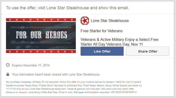 Lone Star Steakhouse Coupon March 2017 Veterans enjoy a free starter today at Lone Star Steakhouse