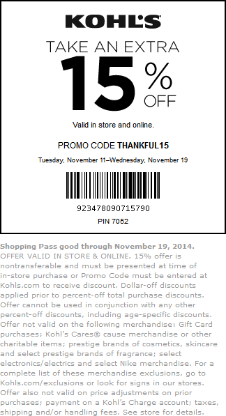 Kohls Coupon December 2016 Extra 15% off at Kohls, or online via promo code THANKFUL15