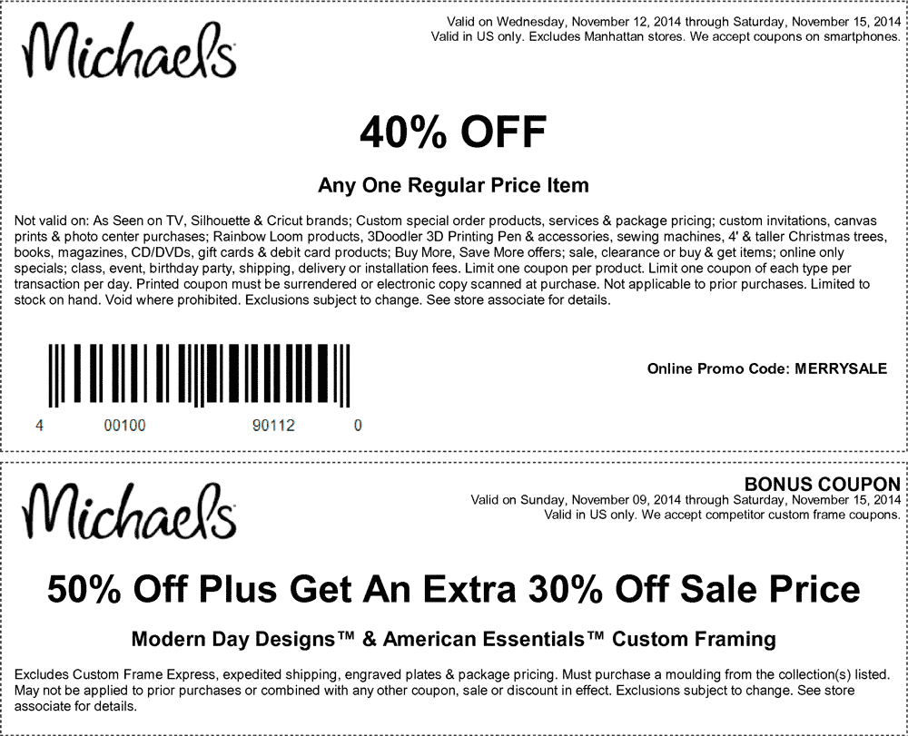 Michaels Coupon October 2016 40% off a single item at Michaels, or online via promo code MERRYSALE
