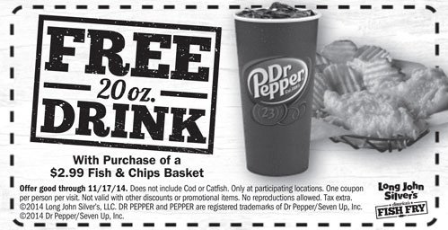 Long John Silvers Coupon February 2018 Free drink with your $3 buck fish & chips at Long John Silvers