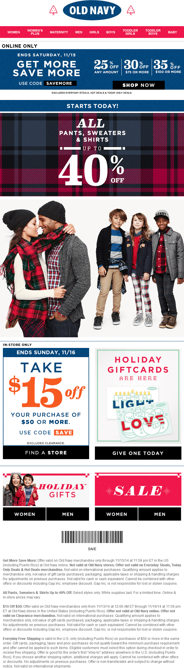 Old Navy Coupon May 2017 $15 off $50 & more at Old Navy, or online via promo code SAVEMORE