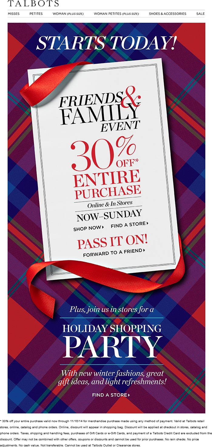 Talbots Coupon October 2016 30% off at Talbots, ditto online
