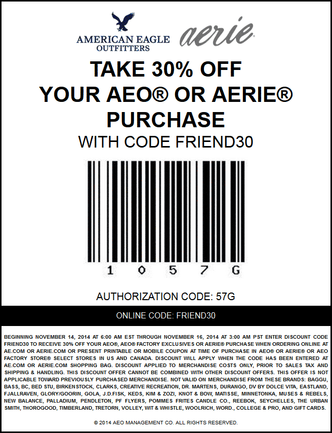 American Eagle Outfitters Coupon November 2018 30% off at American Eagle Outfitters & Aerie, or online via promo code FRIEND30
