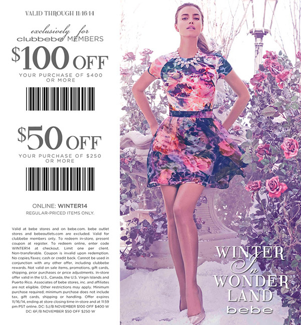 Bebe Coupon August 2018 $50 off $250 & more at bebe, or online via promo code WINTER14