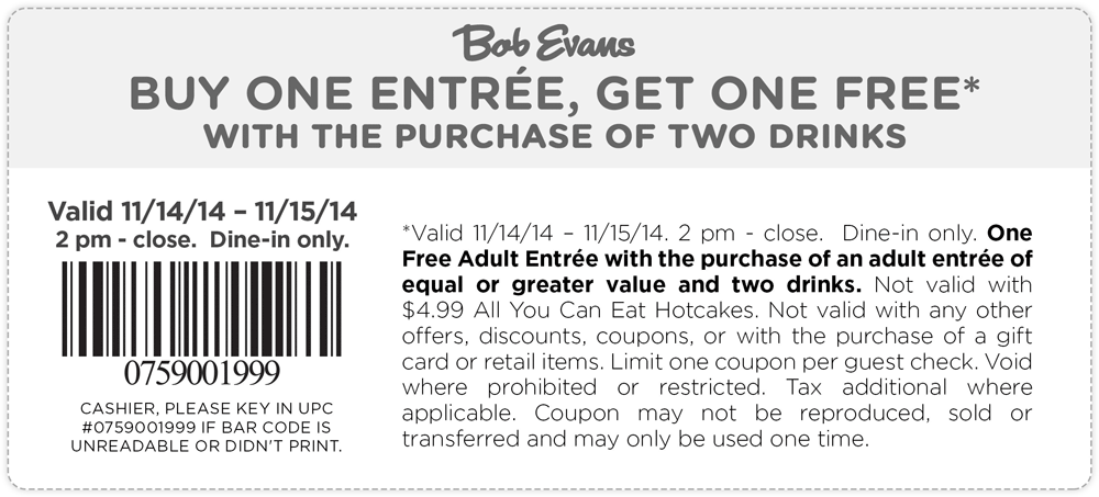 Bob Evans Coupon August 2018 Second entree free at Bob Evans