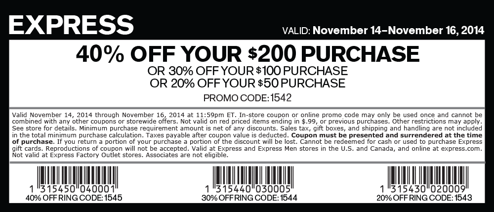 Express Coupon May 2017 20% off $50 & more at Express, or online via promo code 1542